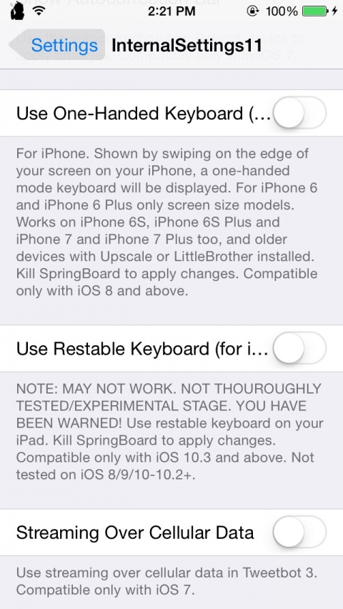 InternalSettings11 (for iOS 11) - Chase Fromm's Cydia Source - YouRepo